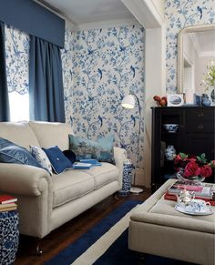 Laura Ashley Summer Palace Royal Blue Floral Wallpaper #LauraAshleyHome #ChinaBlueCollection