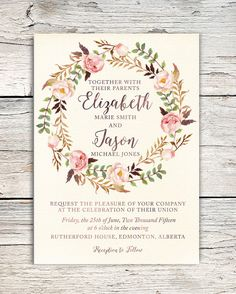 Watercolor Roses Floral Wreath Wedding Invitation - Boho, Country, Vintage, Rustic, Blush, Brown, Green, Garden - Customizable Digital File