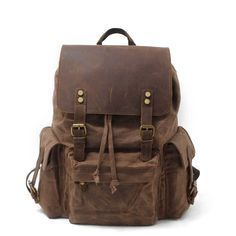 Large capacity waterproof canvas leather backpack 15e970a09854f