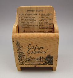 Cajun Cookin Cypress wood box with 10 wooden recipe cards - 20 recipes