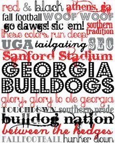 Georgia Bulldogs Printable Subway Art {The Southern Darling Blog}