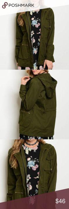 "Dark olive hooded safari jacket Dark olive hooded safari jacket. Fabric Content: 100% COTTON Size Small measurements: L: 28"" B: 42"" W: 46"" trendy boutique Jackets & Coats Utility Jackets"