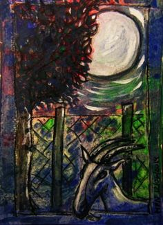 Landscape Re-Vision 04 – Zoomed-In View from my Studio on a Full Moon Night  this is kind of a continuation of my Landscape Re-Vision 02  Gouache and Ink on heavy watercolour paper