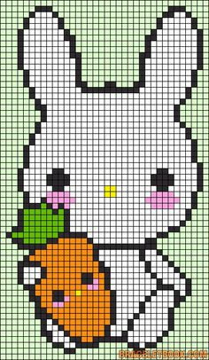Kawaii Bunny with Carrot - Free Pattern for Cross Stitch or Hama Perler Beads