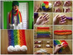 Finger knitted scarf tutorial diy cozy home manualidades infantiles fáciles Diy Knitting Scarf, Diy Finger Knitting, Arm Knitting, Crochet Scarves, Knitting Patterns, Crochet Patterns, Finger Crochet, Loom Scarf, Cowl Patterns