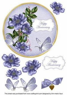 Blue Wild Rose Anniversary 7in Circle Decoupage Topper on Craftsuprint - Add To Basket!