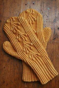 Merion mitts knitted and photographed by mintyfreshflavor on Flickr #knitting #mittens #orange #flickr
