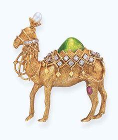 """A GOLD, GEM-SET, ENAMEL """"CAMEL"""" BROOCH, BY JEAN SCHLUMBERGER, TIFFANY & CO."""