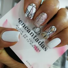 May Nails, Love Nails, How To Do Nails, Hair And Nails, Gorgeous Nails, Pretty Nails, Geometric Nail, Nail Stamping, Nails On Fleek
