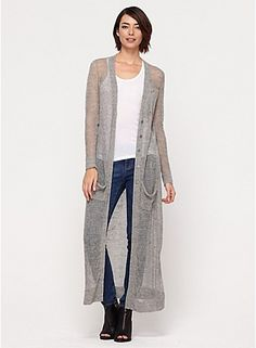 V-Neck Long Cardigan in Rustic Linen Cotton $358.00 Eileen Fisher: DARKPEARL