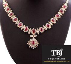 Beautifully crafted Diamond and Ruby necklace #tbjewellery #diamonds #girlslovediamonds #Ruby #necklace #goldenmoments #gold
