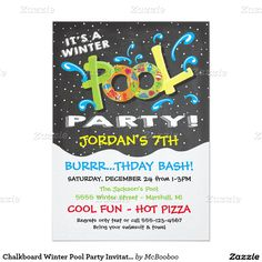 WINTER POOL PARTY Invitation - Winter Birthday Invite - Indoor ...