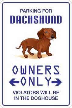 "Aluminum Parking For Dachshund 8""X12"" Metal Novelty Sign Ns 110"