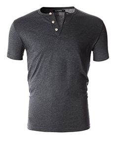 9738b702947 FLATSEVEN Men s Casual Short Sleeve Henley Shirt with Button Henley Tee