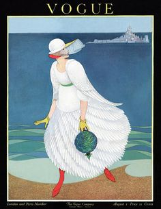 Vogue Cover Featuring Woman At A Beach by George Wolfe Plank