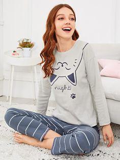 SHEIN offers Cat Print Striped Pajama Set & more to fit your fashionable needs. Satin Pyjama Set, Pajama Set, Pajama Party, Womens Fashion Online, Latest Fashion For Women, Pijama Disney, Pajamas For Teens, Pijamas Women, Babydoll