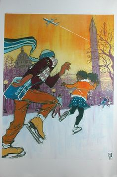 Washington - JetBlue 2003, Ice skaters on the mall with Washington Monument and Capitol dome in background and A320 above - Artwork by John Wilkinson