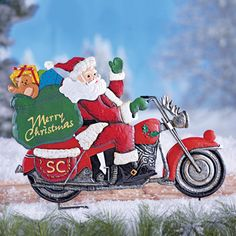 Santa on Motorcycle Garden Stake