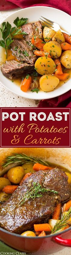 Pot Roast with Potatoes and Carrots - this is any easy one pot dinner that my whole family loves. Hearty and comforting and perfect for fall!