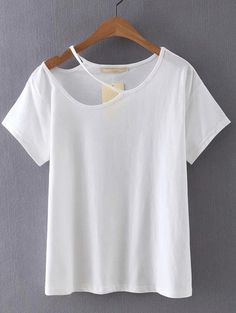 Cutout loose fit white t shirt with 3 from jdzigner jdzigner white cutout plain t shirt cut shirtsdiy solutioingenieria Choice Image