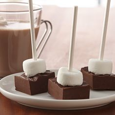 A unique gift from the kitchen - a fudgy square of mocha-flavored chocolate and a marshmallow on a lollipop stick to swirl into hot milk for rich and creamy hot chocolate. Be sure to include the serving directions on the gift tag.