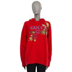 Gucci Hibiscus Flower Embroidered Printed Hoodie Red Cotton Jersey SS 2017 Red Hoodie, Sweater Hoodie, Red Green, Yellow, Ss 2017, Hibiscus Flowers, Luxury Shop, Embroidered Flowers, Street Chic