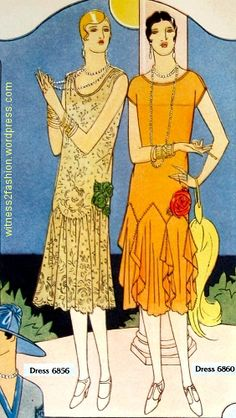 Two evening dresses for women, from Butterick patterns 6856 and 6860. Delineator, July 1926, p. 29.