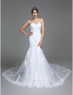 Lanting Bride® Trompette / Sirène Robe de Mariage  Traîne Chapelle Coeur Tulle avec Appliques / Perlage