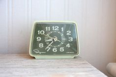 Ingraham Alarm Clock, Ingraham Clock, green clock, celery green, retro clock, Luminous via Etsy