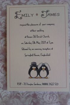 50 Handmade Wedding Invitations  Penguins by Tiaramendous on Etsy, £15.00