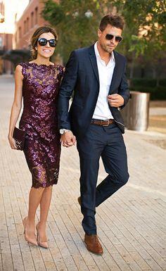 Beau garçon et fille admirable tenues chiques mariage
