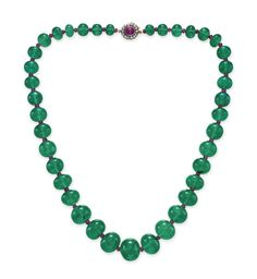 An important single-strand emerald bead necklace #christiesjewels