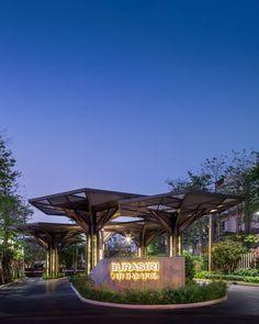 Burasiri Wacharapol Landscape Design by Sanitas Studio Modern Landscape Design, Traditional Landscape, Landscape Plans, Modern Landscaping, Urban Landscape, Landscape Architecture, Architecture Design, Hotel Architecture, Concept Architecture