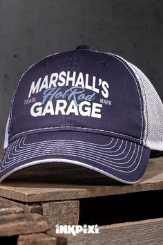 c9f30229a325 Wear your favorite personalized Hot Rod Garage hat while working on your  car. This baseball