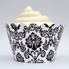 White Damask Cupcake Wrappers, Set of 12   Celebrate Themed Event