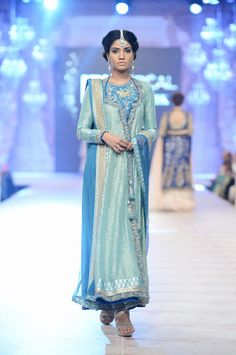 Nida Azwer at #PLBW2014 #Pakistan #Bridal #Fashion #Beauty......absolutely love the shades of mint & blue