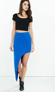blue curved asymmetrical hem maxi skirt