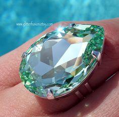 0bb296ac6 Chrysolite Swarovski Crystal Pear Shaped Teardrop Ring, Mint Green Crystal  Statement Ring, Big High Fashion Pale Sea Green Crystal Glam Ring