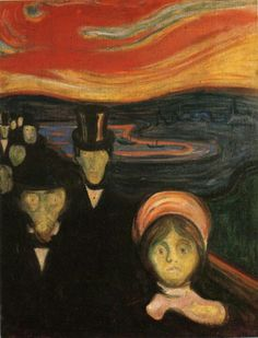Anxiety, 1894 by Edvard Munch.  This painting draws on two earlier departures: the anxious humanity moving forward as if driven by ominous elemental forces,