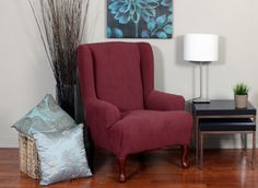 Montgomery II Merlot Wing Chair Slipcover. Deeply embossed box pattern with a soft luscious surface, form fit slip cover upholstery, living room, beautiful interior design, chic home decor