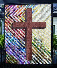 Cross quilt I designed and quilted as part of a HST exchange through Facebook (Summer 2013)
