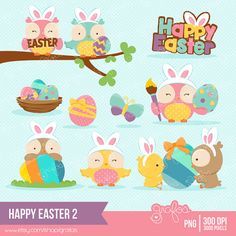 HAPPY EASTER 2  Digital Clipart , Easter Clipart, Easter Owls Clipart, Easter Egg Clipart / Instant Download on Etsy, $5.00