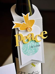 wine bottle card - add a 2nd layer and slide in a gift card too