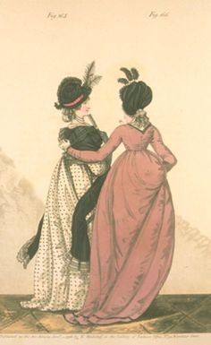 """Gallery of Fashion, Morning Dresses, January 1798.  I'm sorry this scan isn't great, because this is one of those that I desperately wish was clearer! The pink gown has some nice back seams and they both have on very unusual bonnet. And do I spy polka dots?!  The description describes the pink dress as """"raven-shaded"""" and the black trim is made if velvet!"""