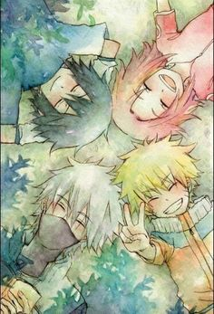 Naruto, Kakashi, Sakura und Sasuke