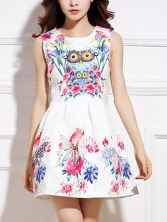 Admirable Round Neck Blended Owl Printed Casual-dress Casual Dresses from fashionmia.com