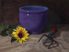 """Still Life, """"Sunflower and a Pot"""" 12x16 oil on canvas board"""