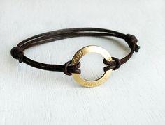 Karma Circle Message Bracelet / Hope Bracelet / Love Bracelet / Dream Bracelet / Believe Bracelet (many cord colors to choose)