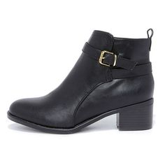 Posh Soul Black Ankle Boots ($35) ❤ liked on Polyvore featuring shoes, boots, ankle booties, black, ankle boots, black bootie, side zip boots, black booties, faux boots and mid heel booties