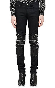 Leather-Trimmed Moto Jeans